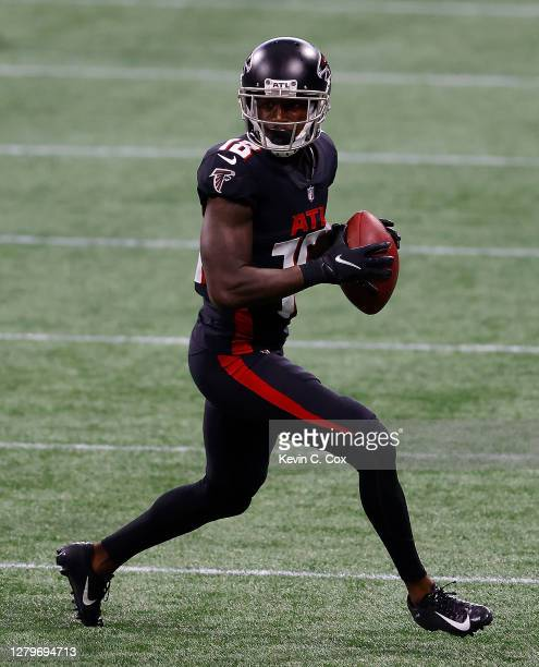 Calvin Ridley of the Atlanta Falcons pulls in this reception against the Carolina Panthers during the second half at Mercedes-Benz Stadium on October...
