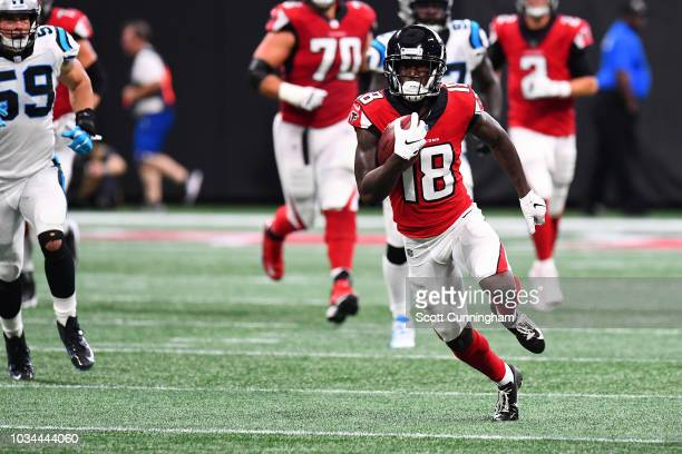 Calvin Ridley of the Atlanta Falcons runs after a catch during the first half against the Carolina Panthers at MercedesBenz Stadium on September 16...