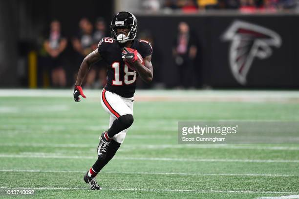 Calvin Ridley of the Atlanta Falcons runs after a catch during the second quarter against the Cincinnati Bengals at MercedesBenz Stadium on September...