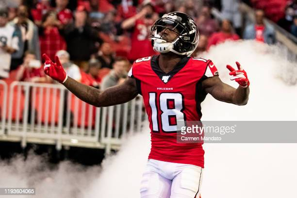 Calvin Ridley of the Atlanta Falcons takes the field prior to the game against the Carolina Panthers at Mercedes-Benz Stadium on December 8, 2019 in...