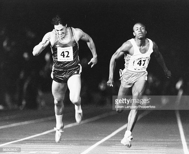 Calvin Smith of the United States narrowly beats British athlete Allan Wells to the finish line during the 100m race at the Amateur Athletics...