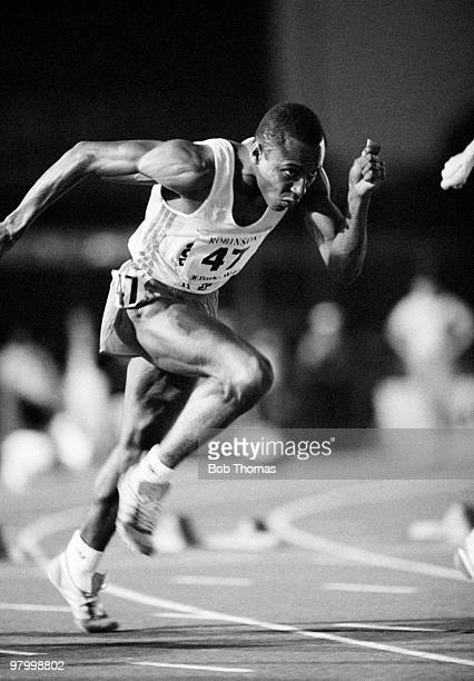 Calvin Smith of the USA running in the Robinson's Barley Water AAA Championships held at Crystal Palace London on 23rd July 1983