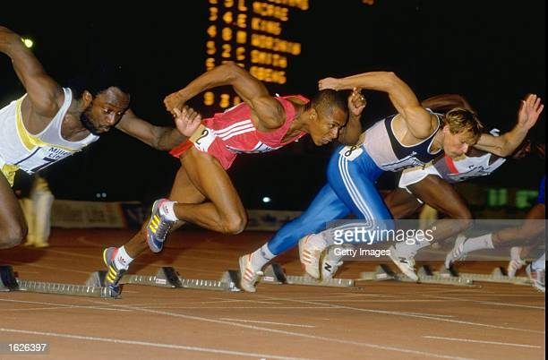 Calvin Smith of the USA starts out of the blocks during the 100 Metres event at Crystal Palace in London Mandatory Credit Allsport UK /Allsport