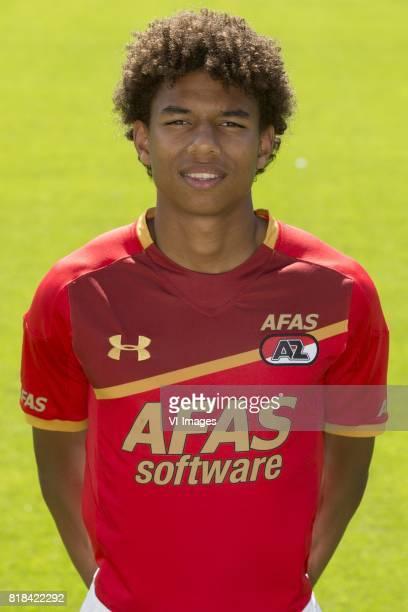 Calvin Stengs during the team presentation of AZ Alkmaar on July 18 2017 at Afas training centre in Zaanstad The Netherlands