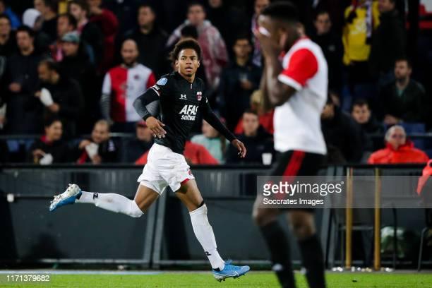 Calvin Stengs of AZ Alkmaar celebrates 0-2 during the Dutch Eredivisie match between Feyenoord v AZ Alkmaar at the Stadium Feijenoord on September...
