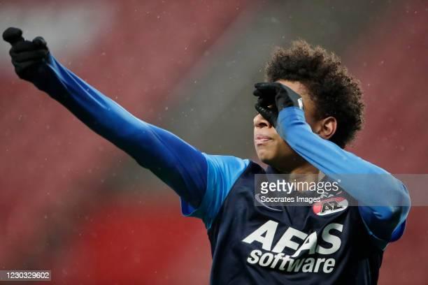 Calvin Stengs of AZ Alkmaar Celebrates 1-2 during the Dutch Eredivisie match between FC Utrecht v AZ Alkmaar at the Stadium Galgenwaard on December...