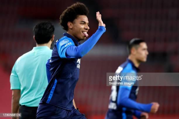 Calvin Stengs of AZ Alkmaar celebrates 1-3 during the Dutch Eredivisie match between PSV v AZ Alkmaar at the Philips Stadium on January 13, 2021 in...