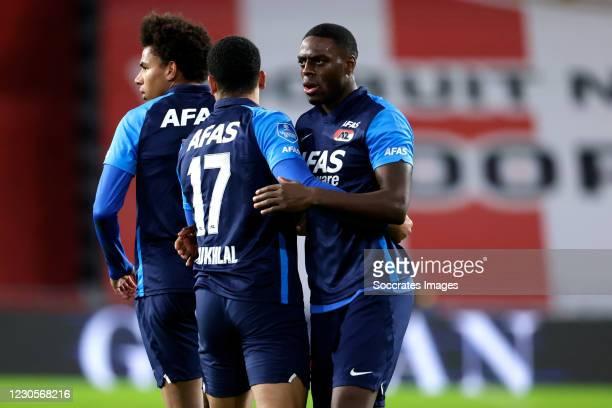 Calvin Stengs of AZ Alkmaar celebrates 1-3 with Zakaria Aboukhlal of AZ Alkmaar, Bruno Martins Indi of AZ Alkmaar during the Dutch Eredivisie match...