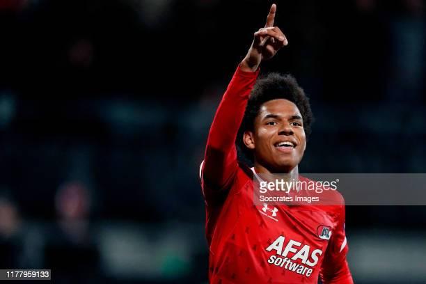 Calvin Stengs of AZ Alkmaar celebrates 3-0 during the UEFA Europa League match between AZ Alkmaar v Astana at the Cars Jeans Stadium on October 24,...