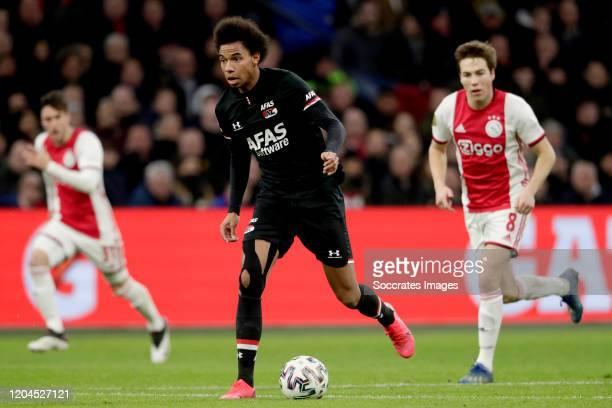 Calvin Stengs of AZ Alkmaar during the Dutch Eredivisie match between Ajax v AZ Alkmaar at the Johan Cruijff Arena on March 1, 2020 in Amsterdam...