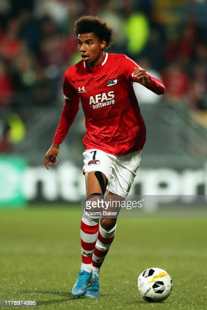 Calvin Stengs of AZ Alkmaar in action during the UEFA Europa League group L match between AZ Alkmaar and Manchester United at AFAS-Stadium on October...