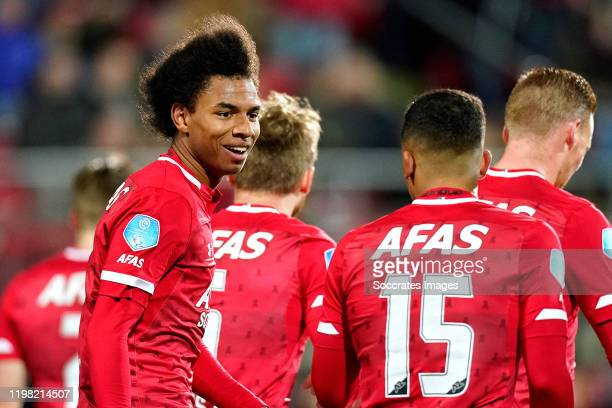 Calvin Stengs of AZ Alkmaar Owen Wijndal of AZ Alkmaar during the Dutch Eredivisie match between AZ Alkmaar v RKC Waalwijk at the AFAS Stadium on...