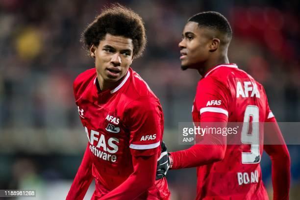 Calvin Stengs of AZ, Myron Boadu of AZ during the Dutch Eredivisie match between AZ Alkmaar and Ajax Amsterdam at AFAS stadium on December 15, 2019...