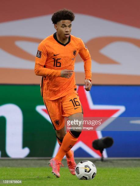 Calvin Stengs of Holland during the World Cup Qualifier match between Holland v Latvia at the Johan Cruijff Arena on March 27, 2021 in Amsterdam...