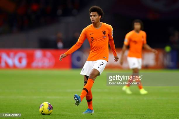 Calvin Stengs of Netherlands in action during the UEFA Euro 2020 Qualifier between The Netherlands and Estonia on November 19, 2019 in Amsterdam,...