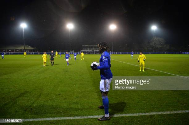 Calvin Ughelumba of Leicester City during the Leicester City U23 v Villarreal B PL International Cup at Holmes Park on December 18th 2019 in...