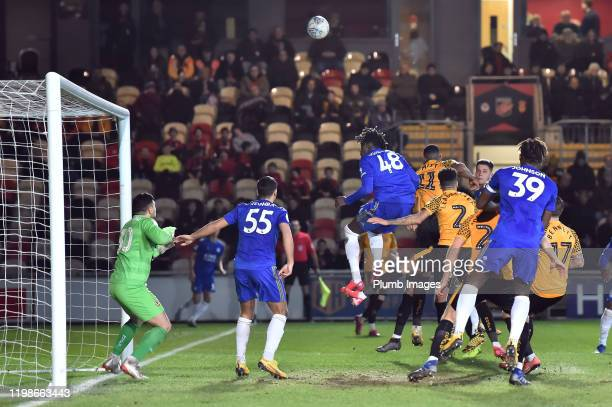 Calvin Ughelumba of Leicester City threatens from a corner during the Leasingcom quarter final match between Newport County and Leicester City U21 at...