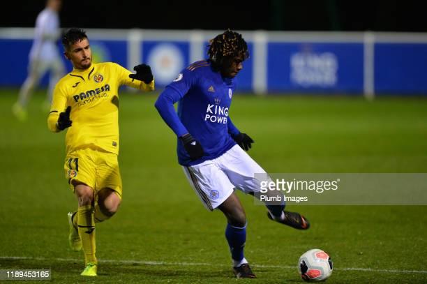Calvin Ughelumba of Leicester City with Daniel Villanueva Rivas of Villarreal during the Leicester City U23 v Villarreal B PL International Cup at...