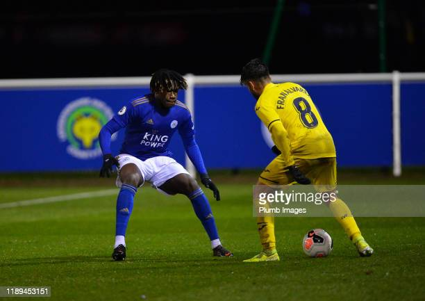 Calvin Ughelumba of Leicester City with Francisco Javier Álvarez Rodríguez of Villarreal during the Leicester City U23 v Villarreal B PL...