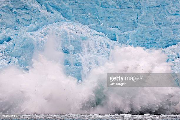 Calving glacier, rim of the Monacobreen Glacier, Liefdefjorden, Spitsbergen, Svalbard Islands, Svalbard and Jan Mayen, Norway