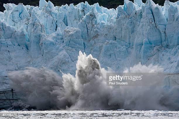 calving icebergs, glacier bay, alaska - glacier stock pictures, royalty-free photos & images