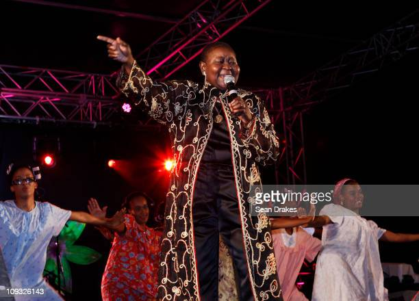Calypso Rose performs at the Ladies Night event at Jean Pierre Complex on Friday February 18 2011 in Port of Spain Trinidad