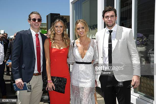 Cam Arnold Ruby and Lucy Brownless and Paddy McCartin arrive at Oaks Day at Flemington Racecourse on November 3 2016 in Melbourne Australia