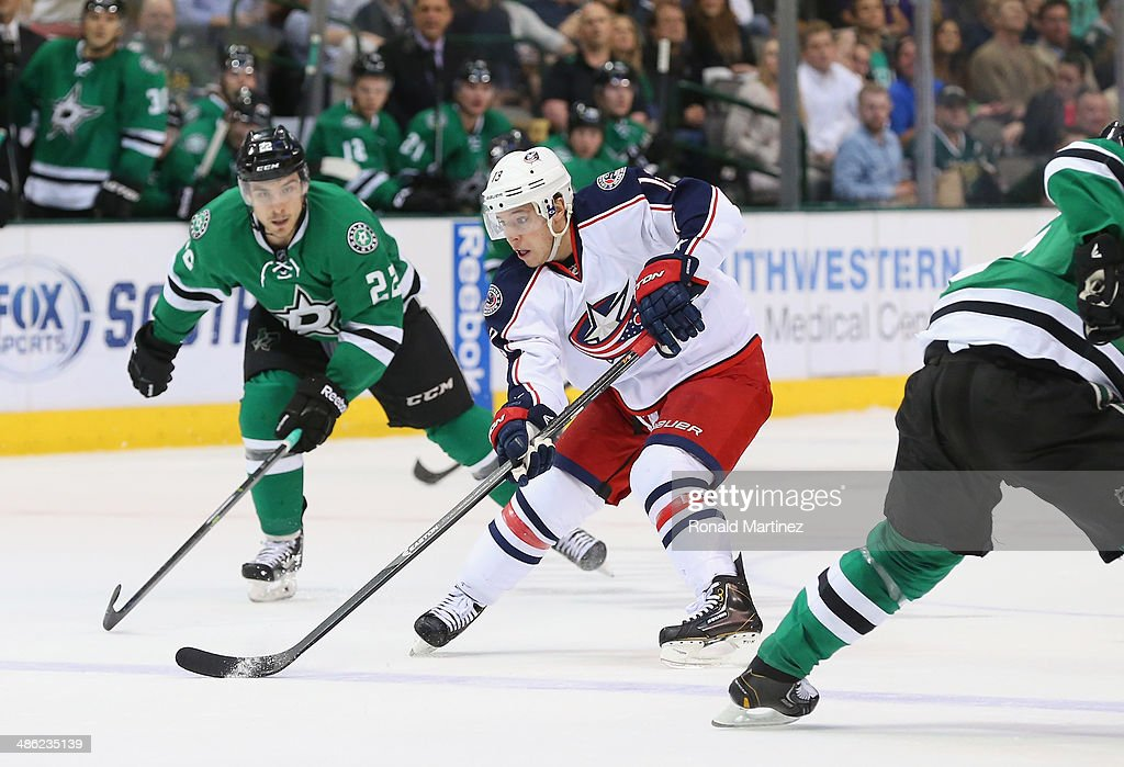 Cam Atkinson #13 of the Columbus Blue Jackets at American Airlines Center on April 9, 2014 in Dallas, Texas.