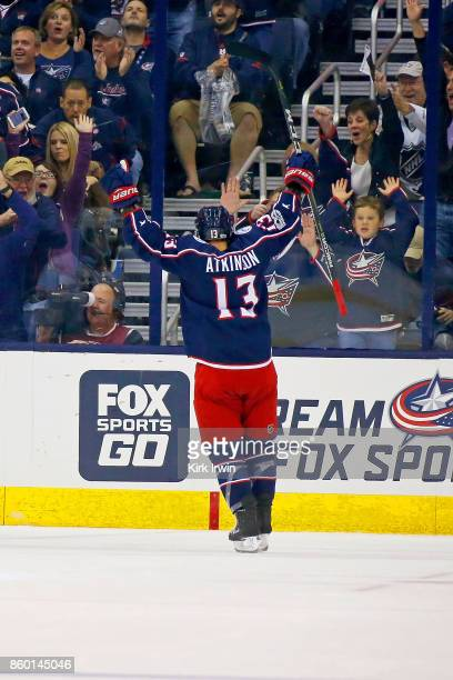 Cam Atkinson of the Columbus Blue Jackets celebrates after scoring a goal during the game against the New York Islanders on October 6 2017 at...