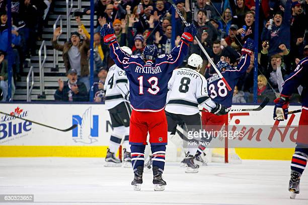 Cam Atkinson of the Columbus Blue Jackets celebrates after scoring his second goal of the game against the Los Angeles Kings during the third period...