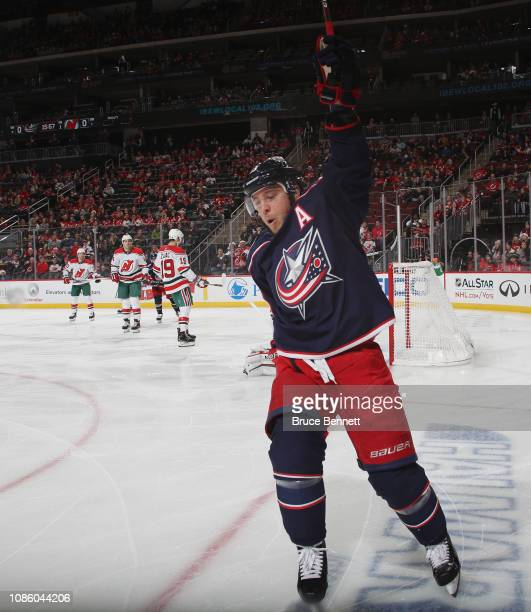 Cam Atkinson of the Columbus Blue Jackets celebrates his goal against the New Jersey Devils at 413 of the first period at the Prudential Center on...