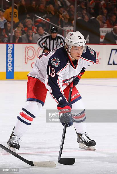 Cam Atkinson of the Columbus Blue Jackets in action against the Philadelphia Flyers during their game at the Wells Fargo Center on December 19 2013...