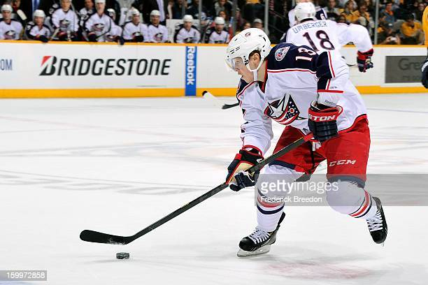 Cam Atkinson of the Columbus Blue Jackets plays against the Nashville Predators at Bridgestone Arena on January 19 2013 in Nashville Tennessee