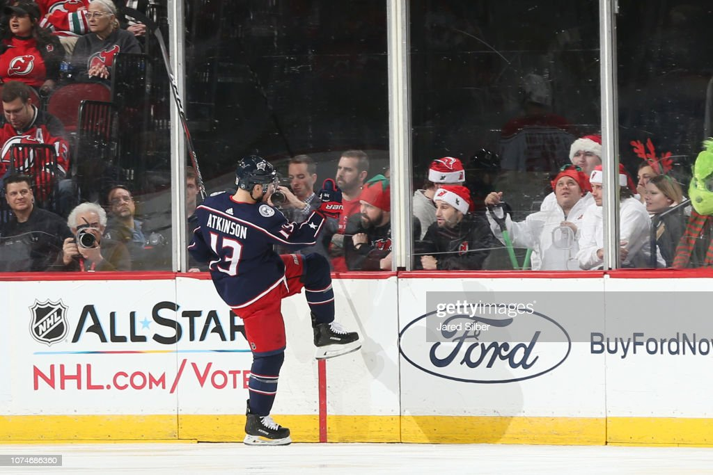 release date: b6b2b 23da0 Cam Atkinson of the Columbus Blue Jackets reacts after ...