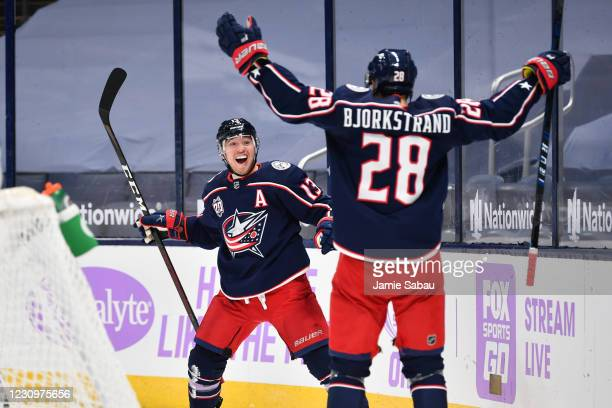 Cam Atkinson of the Columbus Blue Jackets reacts after scoring a goal during the third period of a game against the Dallas Stars on February 4, 2021...