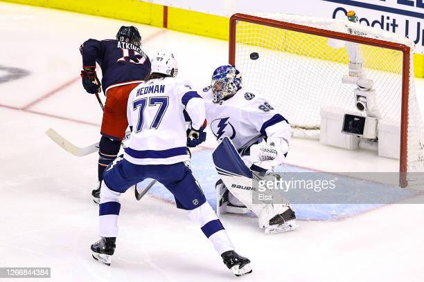Cam Atkinson of the Columbus Blue Jackets scores a goal at 548 past Andrei Vasilevskiy of the Tampa Bay Lightning during the second period in Game...