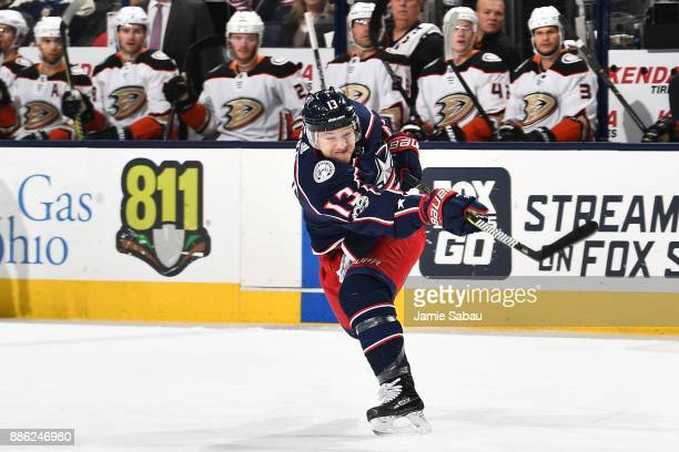 Cam Atkinson of the Columbus Blue Jackets skates against the Anaheim Ducks on December 1 2017 at Nationwide Arena in Columbus Ohio
