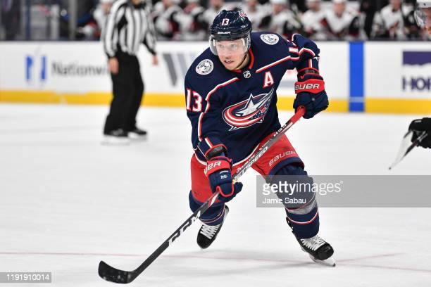 Cam Atkinson of the Columbus Blue Jackets skates against the Arizona Coyotes on December 3, 2019 at Nationwide Arena in Columbus, Ohio.