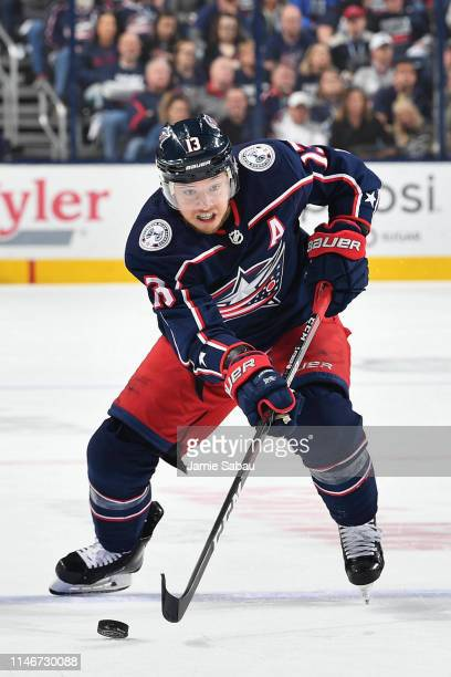Cam Atkinson of the Columbus Blue Jackets skates against the Boston Bruins in Game Four of the Eastern Conference Second Round during the 2019 NHL...