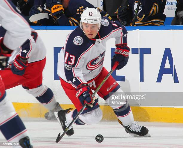 Cam Atkinson of the Columbus Blue Jackets skates against the Buffalo Sabres during an NHL game on November 20 2017 at KeyBank Center in Buffalo New...