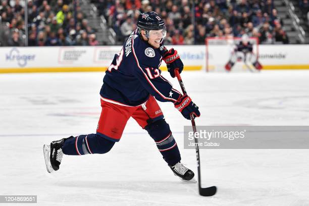 Cam Atkinson of the Columbus Blue Jackets skates against the Detroit Red Wings on February 7, 2020 at Nationwide Arena in Columbus, Ohio.