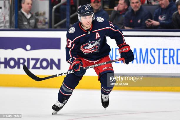 Cam Atkinson of the Columbus Blue Jackets skates against the New Jersey Devils on January 18, 2020 at Nationwide Arena in Columbus, Ohio.