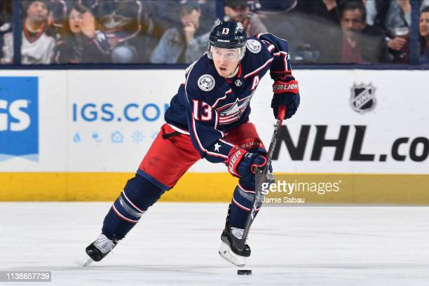Cam Atkinson of the Columbus Blue Jackets skates against the New York Islanders on March 26, 2019 at Nationwide Arena in Columbus, Ohio.