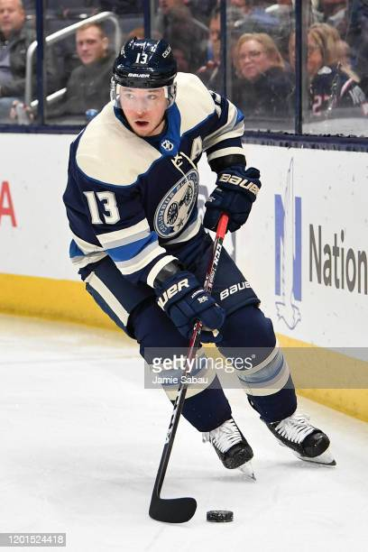 Cam Atkinson of the Columbus Blue Jackets skates against the Winnipeg Jets on January 22, 2020 at Nationwide Arena in Columbus, Ohio.