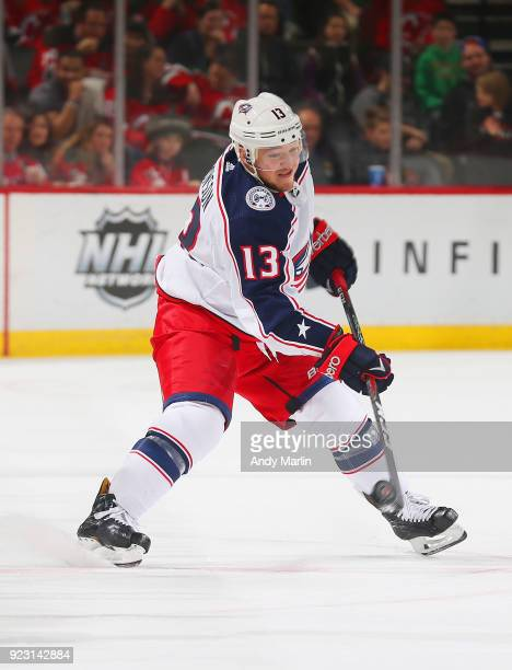 Cam Atkinson of the Columbus Blue Jackets skates during the game against the New Jersey Devils at Prudential Center on February 20 2018 in Newark New...