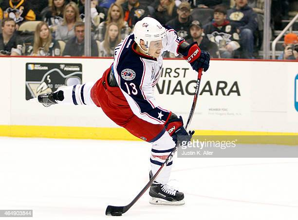 Cam Atkinson of the Columbus Blue Jackets takes a shot on goal against the Pittsburgh Penguins during the game at Consol Energy Center on March 1...