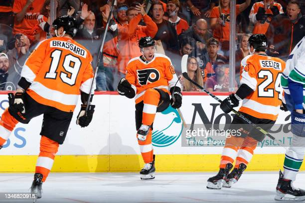 Cam Atkinson of the Philadelphia Flyers celebrates after scoring during the second period against the Vancouver Canucks at Wells Fargo Center on...