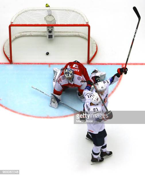 Cam Atkinson of United States celebrate with team mate Dylan Larkin after he scores the 3rd goal during the 2018 IIHF Ice Hockey World Championship...