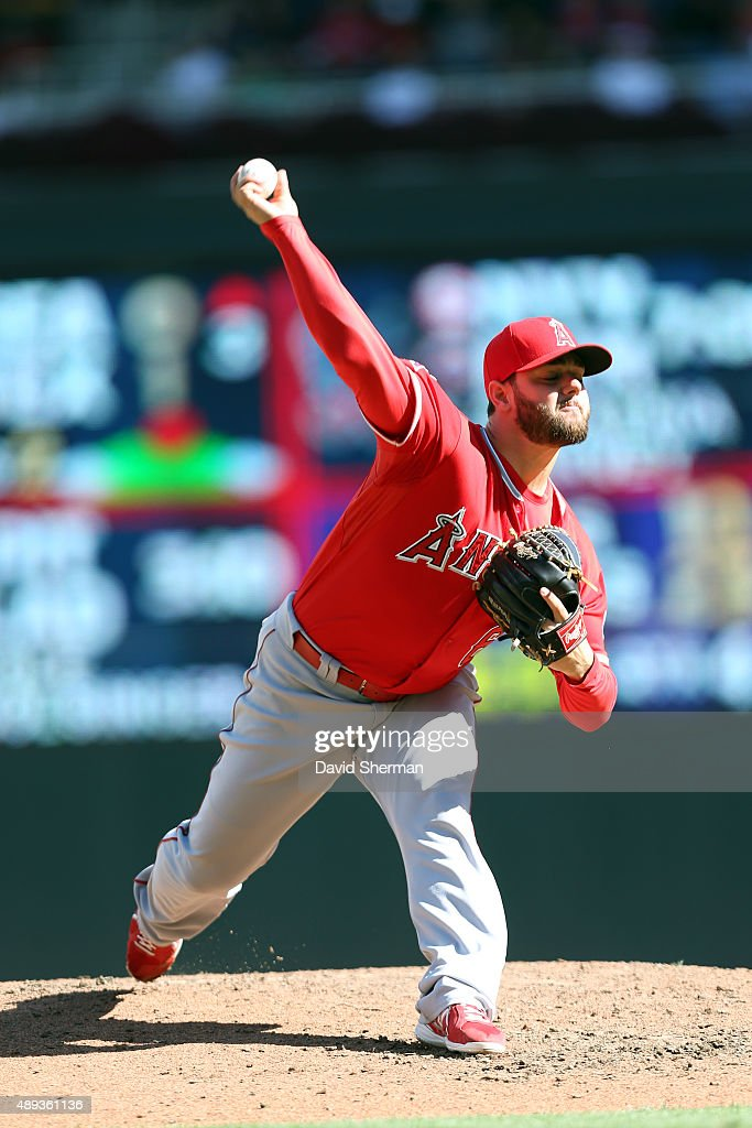 Cam Bedrosian #68 of the Los Angeles Angels of Anaheim pitches in relief against the Minnesota Twins in the fifth inning at Target Field on September 20, 2015 in Minneapolis, Minnesota. The Twins defeated the Angels 8-1.