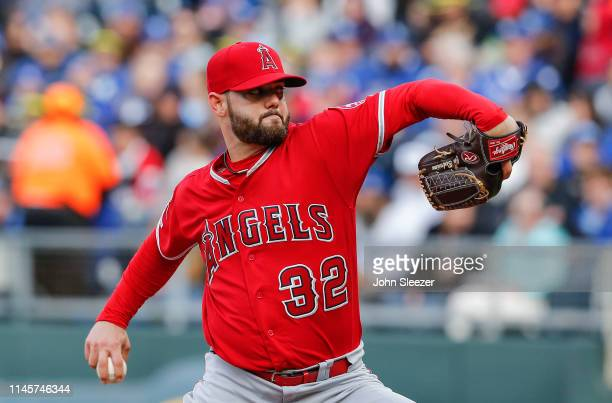 Cam Bedrosian of the Los Angeles Angels of Anaheim pitches in the first inning during the game against the Kansas City Royals at Kauffman Stadium on...